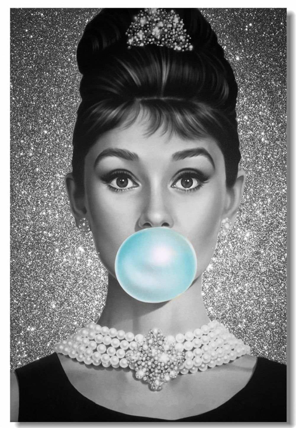 Photo of Custom Canvas Wall Art Audrey Hepburn Poster Audrey Hepburn Bubble Wall Papers Pin Up Girl Sticker Cafe Living Room Mural #0007#
