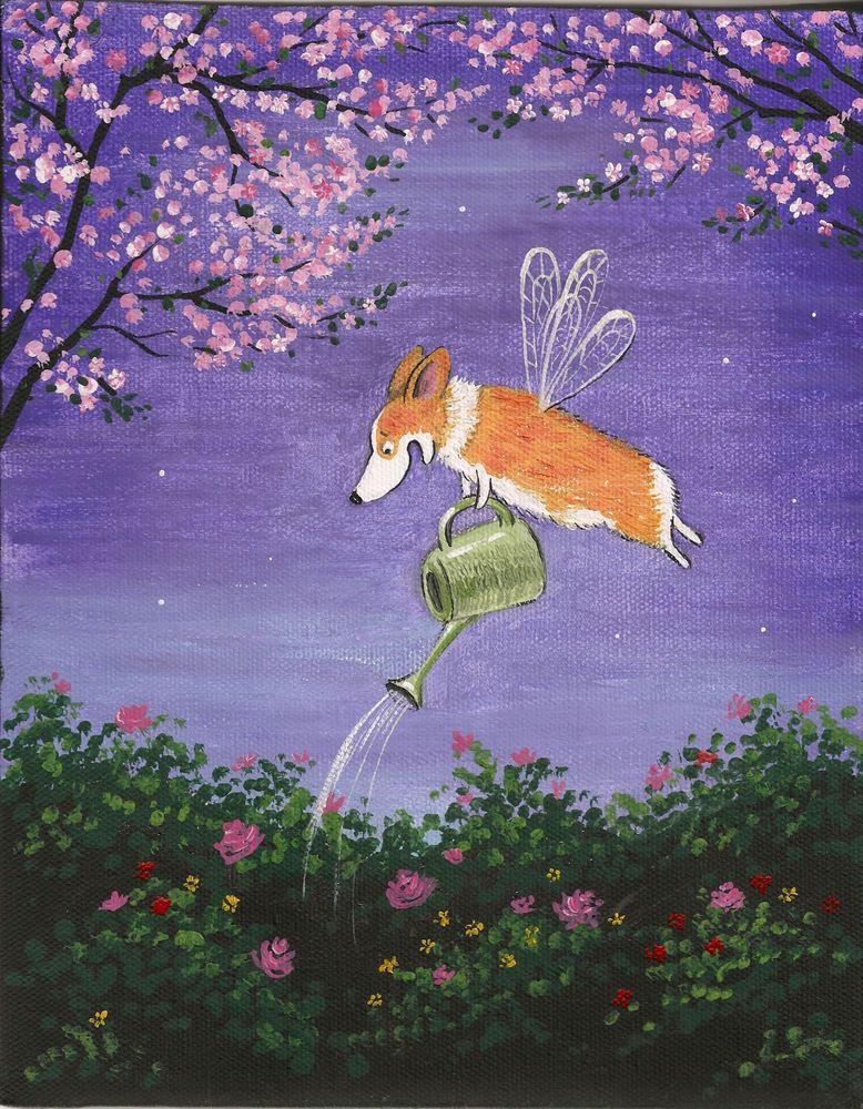8X10 PRINT OF PAINTING PEMBROKE WELSH CORGI FOLK ART surreal flying dog watering the garden cartoon illustration