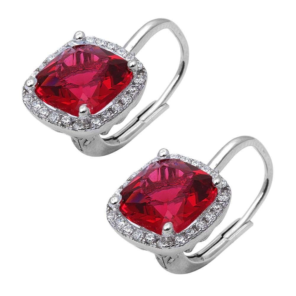 """Mix Stones Earrings CUT RUBY /& CUBIC ZIRCONIA Ear Stud 1//2/"""" 925 Silver Jewelry"""