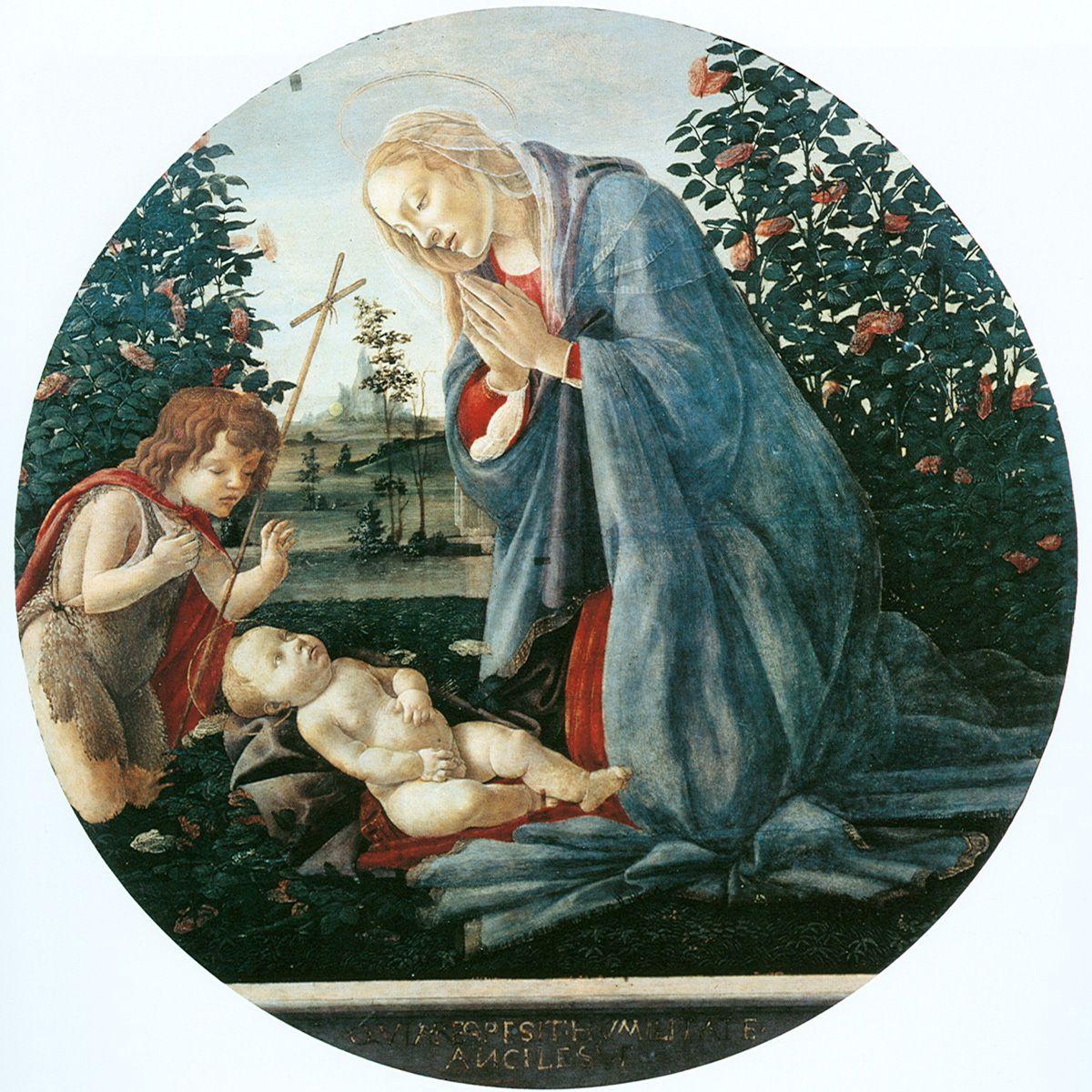 Sandro Botticelli (Alessandro di Mariano di Vanni Filipepi) (1445 -  1510). Virgin Adoring the Child Tempera on panel, about 1477 diameter: 96 cm. Museo Civico, Piacenza, Italy