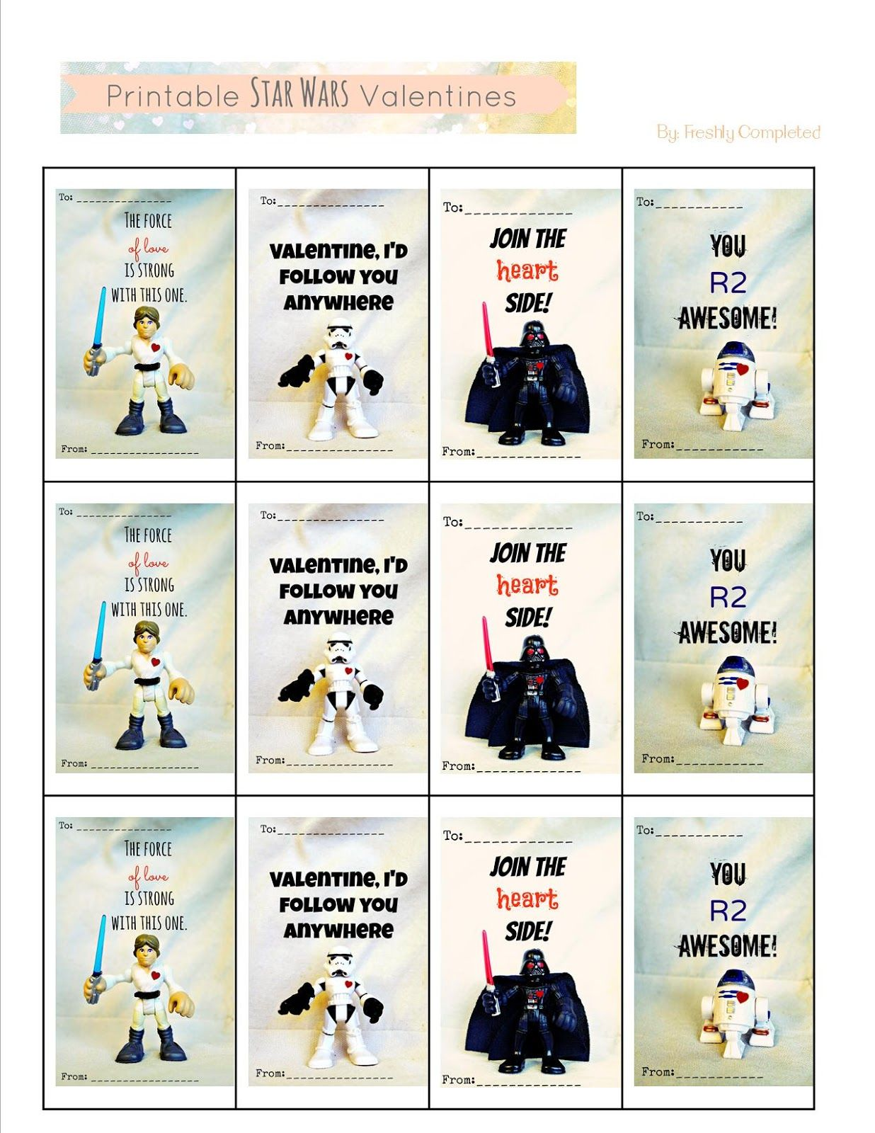 Freshly Completed Printable Star Wars Valentines Kids