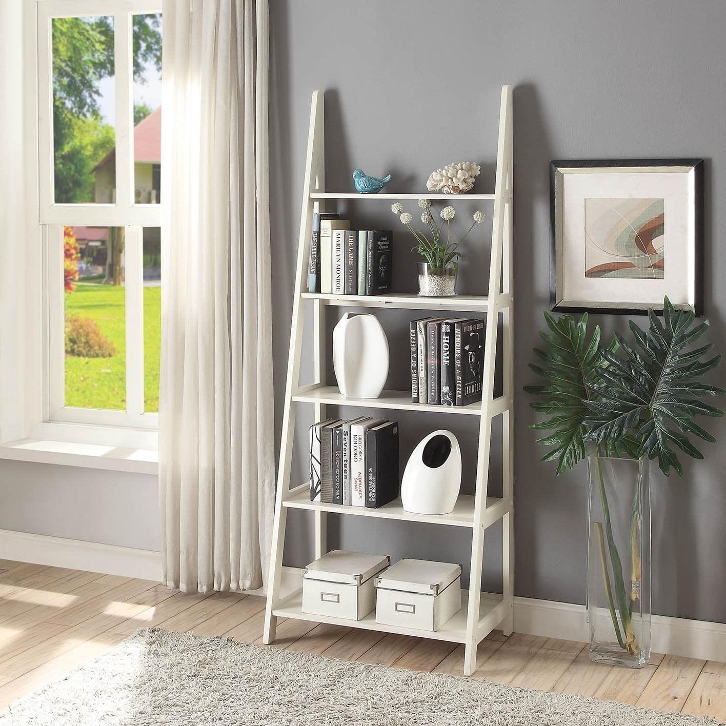 Briarwood Home Decor Espresso Colored Wood 28x72 Ladder Style Bookcase White
