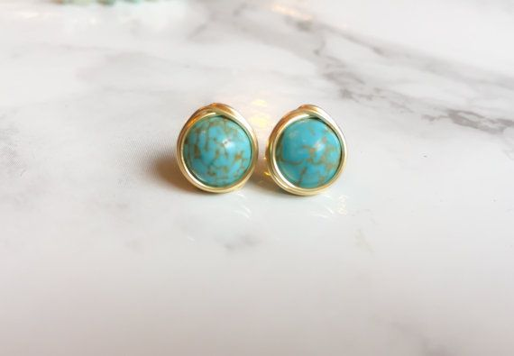 turquoise pin cowgirl plated earrings triangle stud gold genuine western