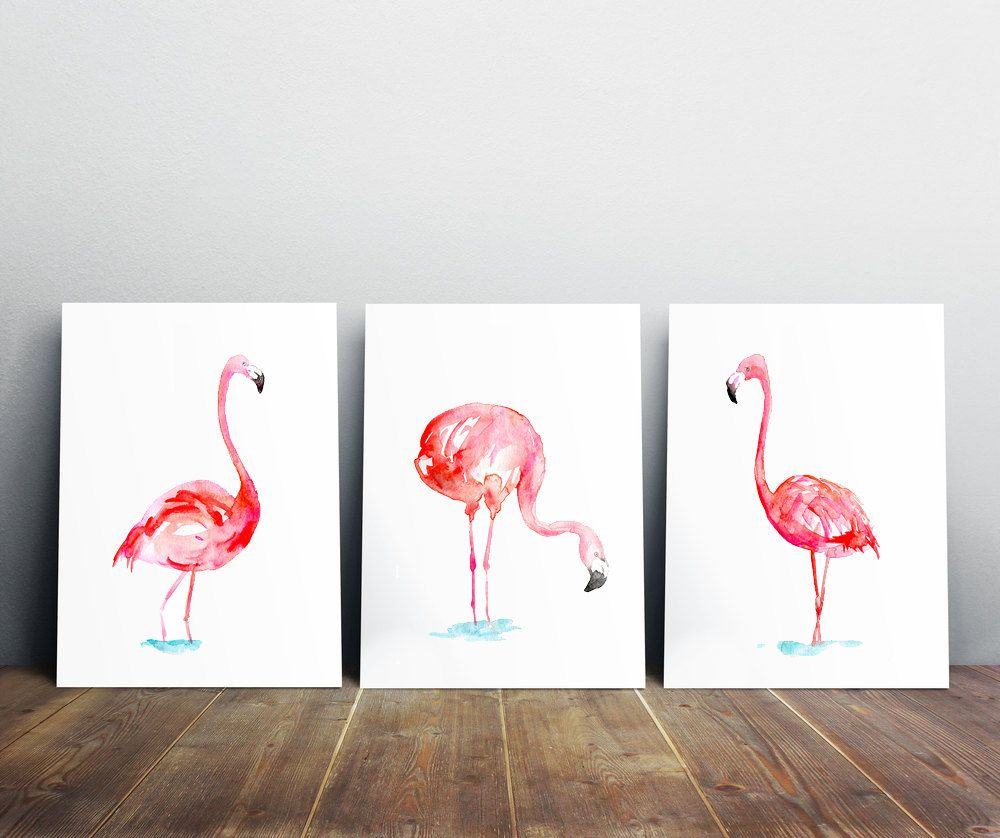 Flamant Art Set De 3 Tirages Flamingo Peinture Aquarelle Animaux