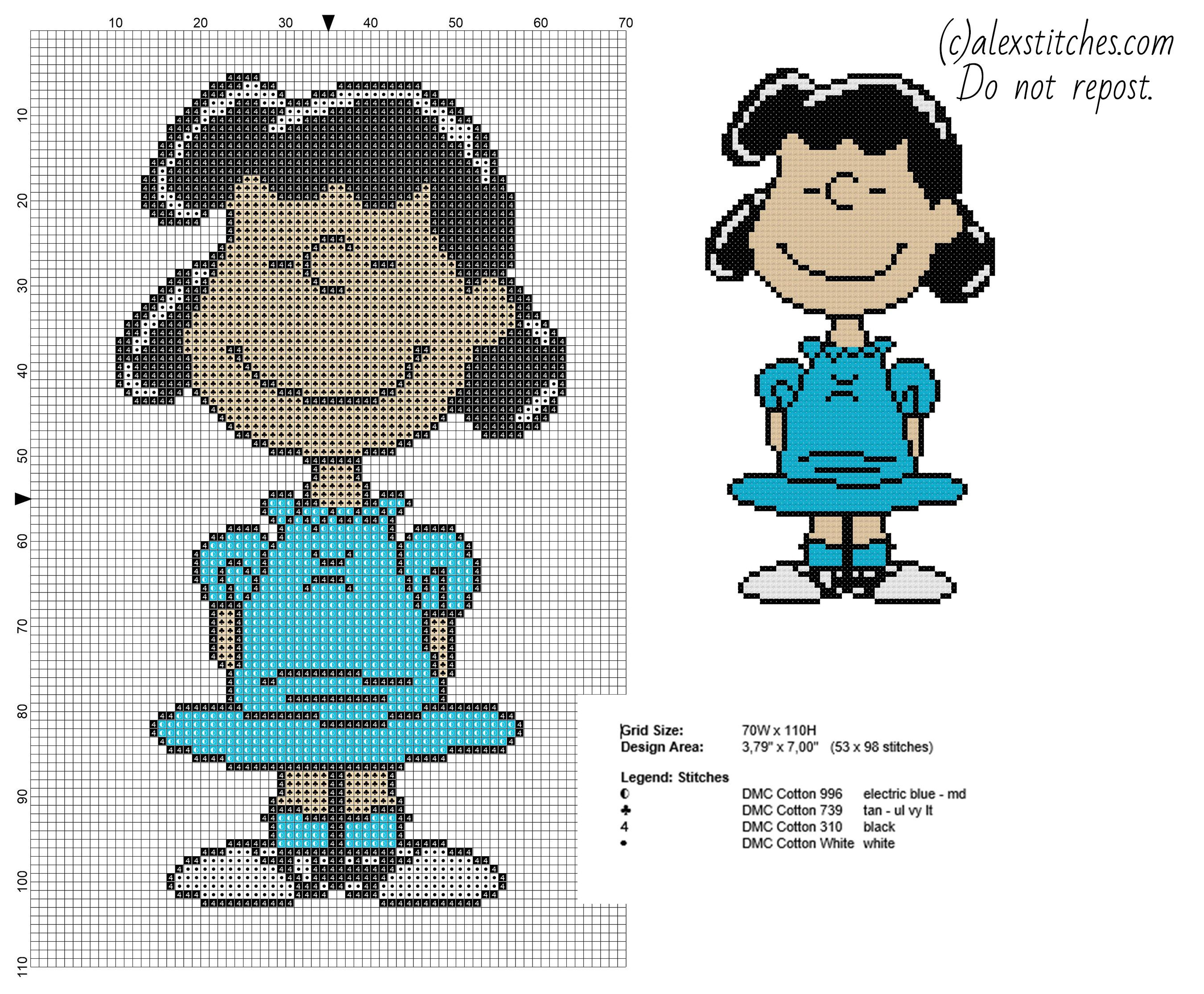 Lucy Peanuts character free cross stitch pattern - free cross stitch ...
