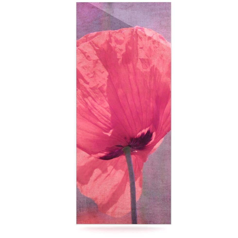 "Iris Lehnhardt ""Poppy"" Pink Flower Luxe Rectangle Panel"