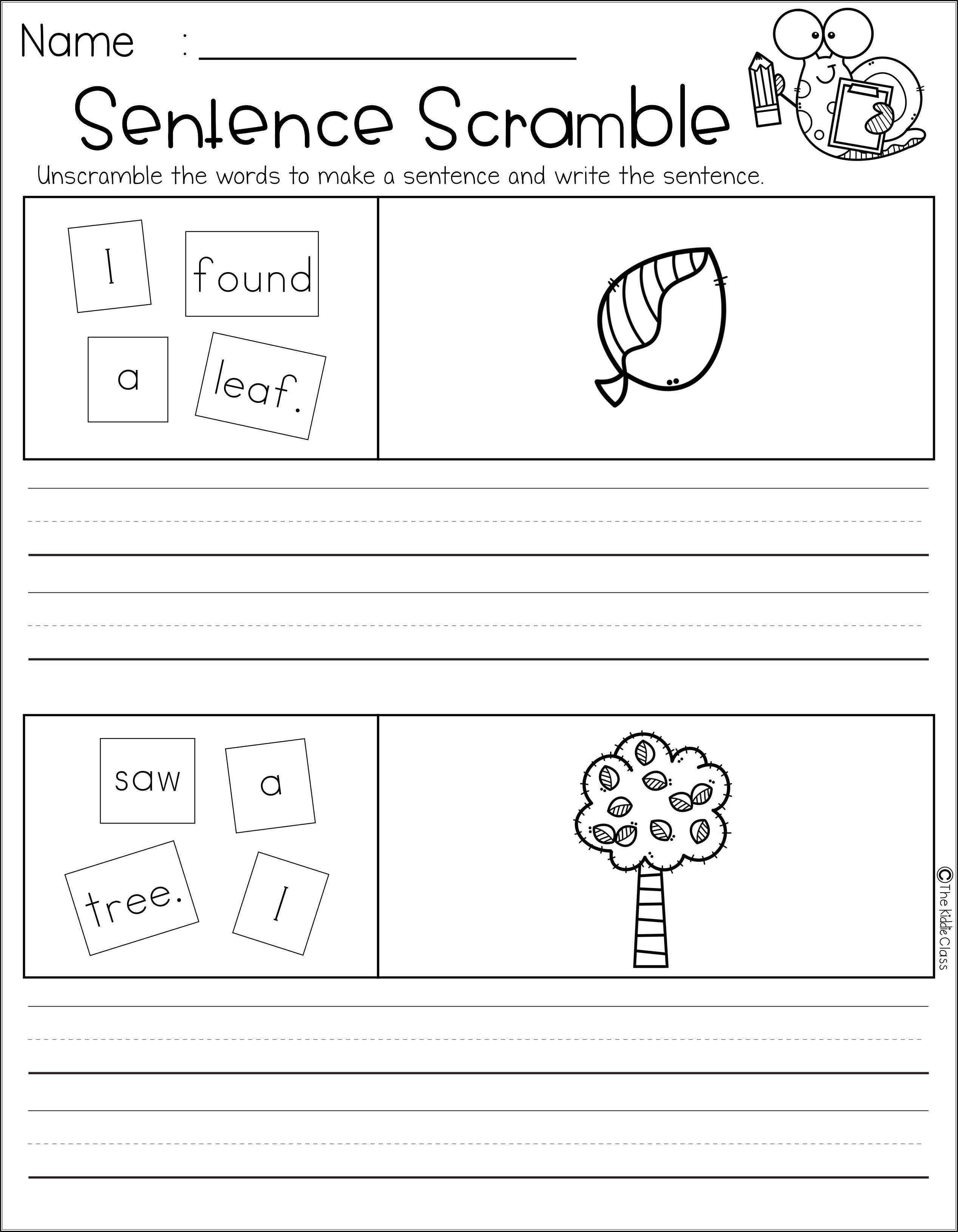 Free Sentence Scramble Sentence Scramble Sentences Kindergarten Kindergarten Worksheets [ 3260 x 2536 Pixel ]