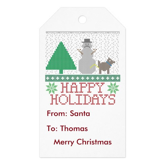 Happy Holidays Funny Dog Peeing Snowman Christmas Gift Tags #uglychristmas #christmas #dogpeeingon #tackychristmas #tacky #GiftTags #UglyChristmasSweater #uglysweater #party #celebration #Christmasparty #holidayparty #partyideas #themedparty