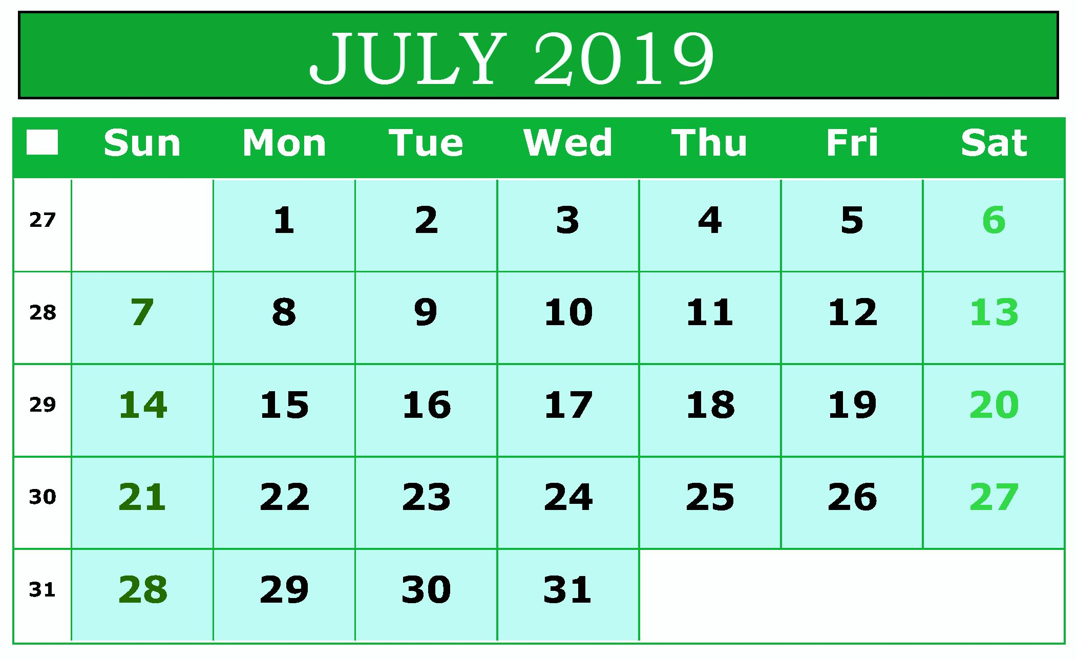 July Excel Calendar Printable Spreadsheet Template