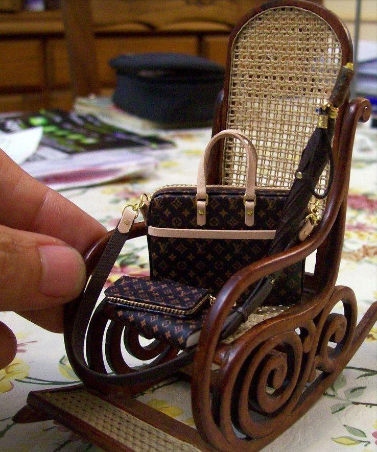 Dollhouse Miniatures Jensen: Mini Bags On An Adorable Rocking Chair