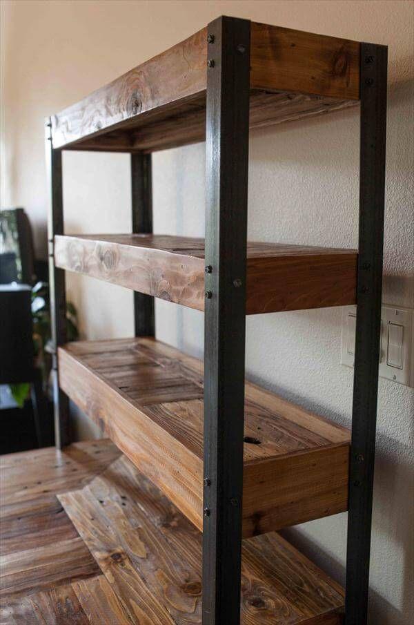 Multi-Tiered Pallet Desk   Wood, metal shelves, Pallet ...