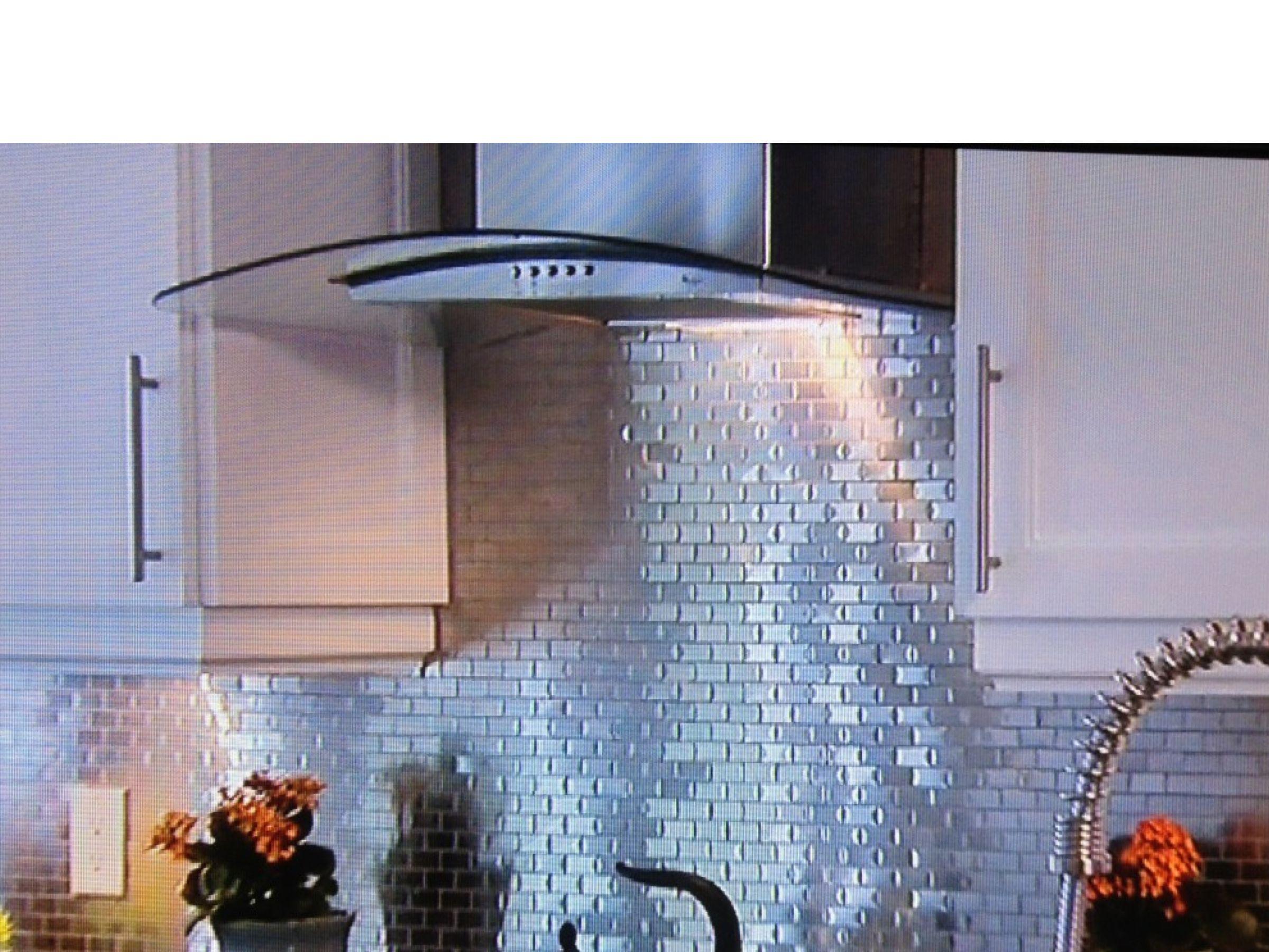 We Are Loving The Way This Tin Tile Backsplash Adds Light And Subtle Sparkle To This Bea Kitchen Backsplash Metal Tiles Metallic Backsplash Tin Tile Backsplash