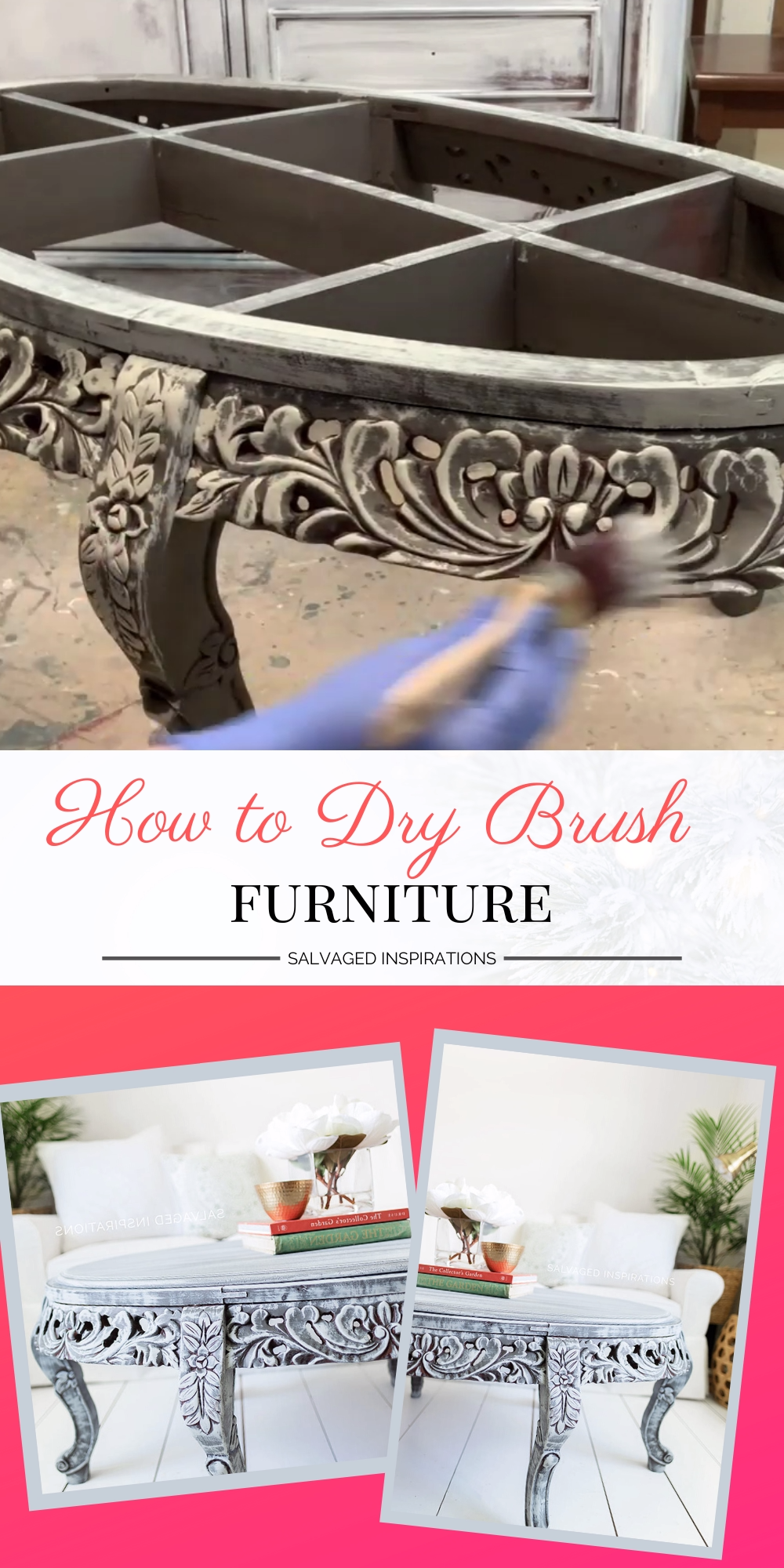 Today I'm sharing how fast and easy it is to dry brush furniture to get dramatic results — just wait until you see this before and after! This curbshopped table gets a gorgeous before and after makeover! #siblog #drybrushing #drybrushedfurniture #tablemakeover #paintedfurniture #furnituremakeover #beforeandafter #dixiebellepaint #furniturefixeruppers #salvagedtable #salvagedinspirations