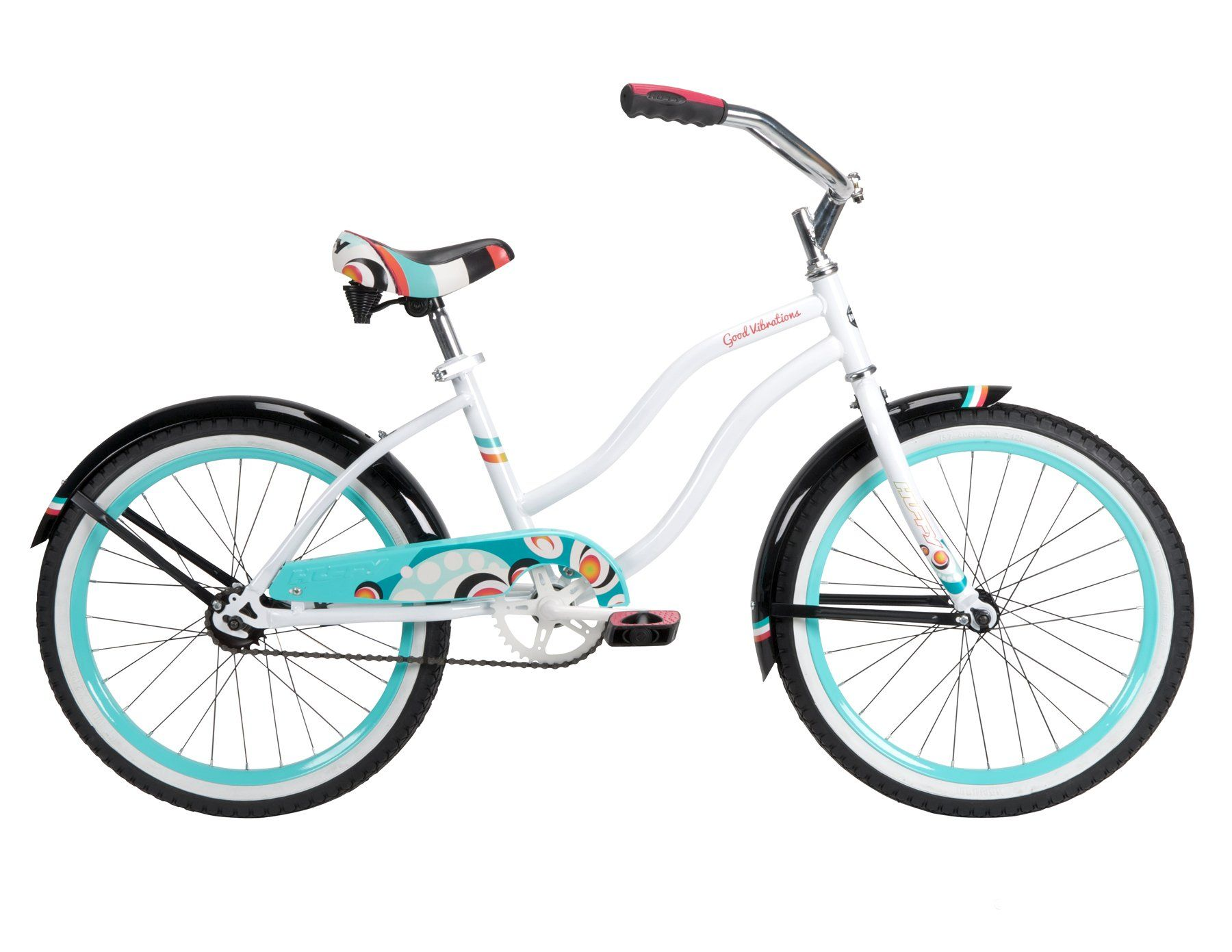 ed868d3e720 Amazon.com: Huffy Bicycle Company Number 23555 Girls Good Vibrations Bike,  White Beach, 20-Inch: Sports & Outdoors