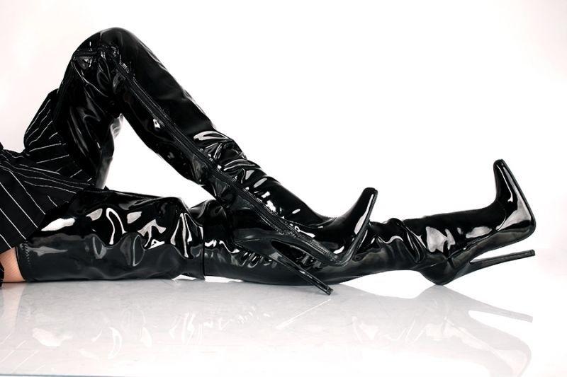 Stivali Uomo Donna Tacchi Alti Sopra Il Ginocchio Di Vernice Crotch Scarpe 27c79802970