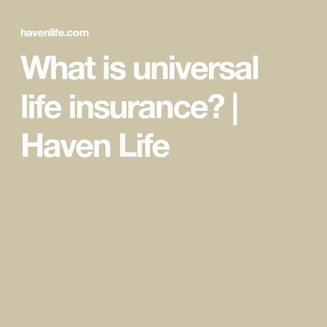 What is universal life insurance? | Haven Life in 2020 ...