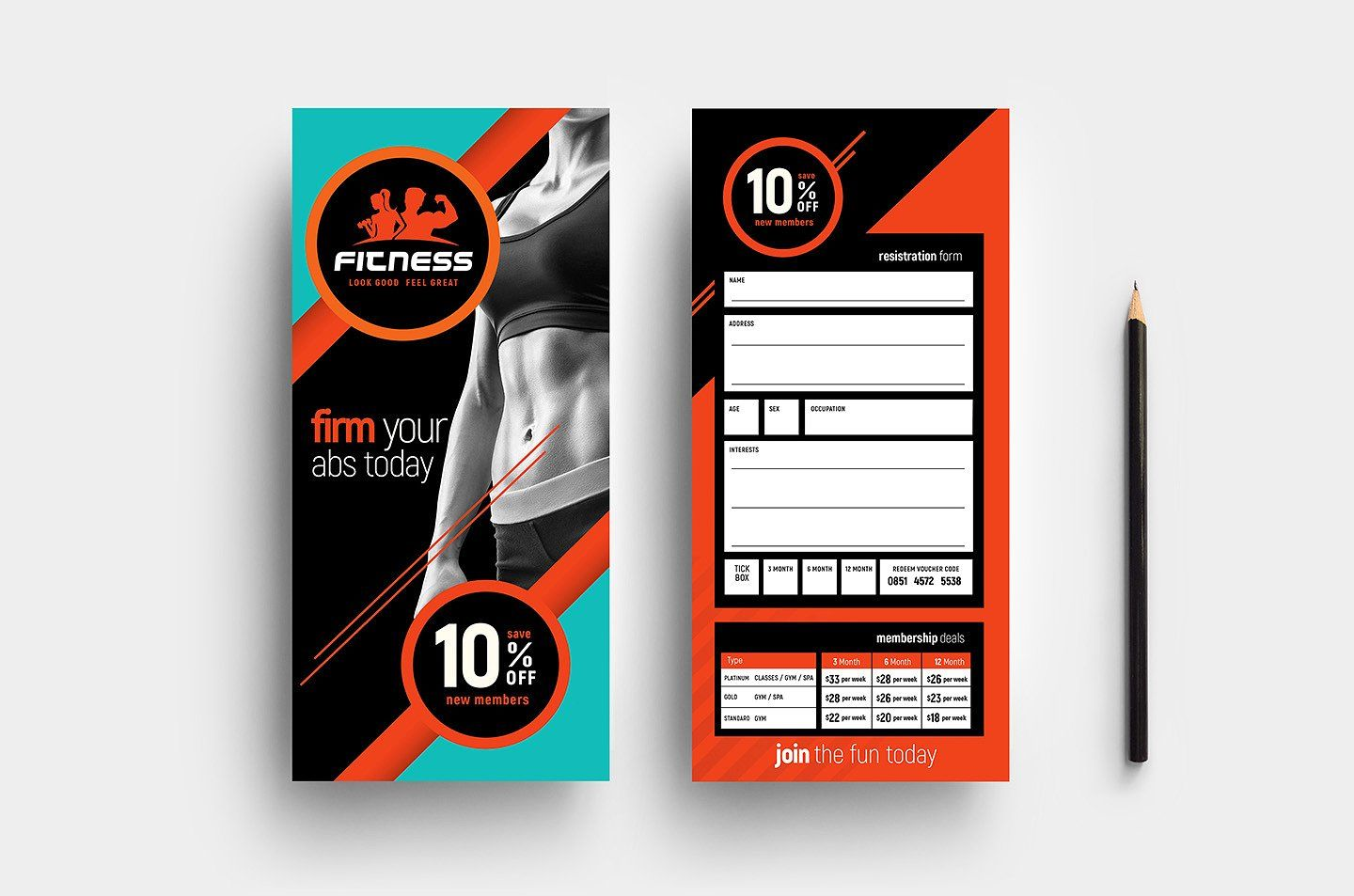 Gym Fitness Template Pack Rack Card Templates Gym Membership Card Card Template
