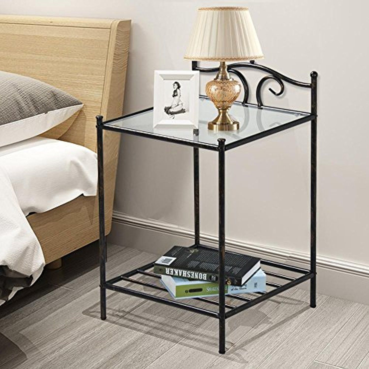 Topeakmart 2 Tier Metal Night Stand Antique Bedside Table Top Glass Shelf Storage Details Can Be Found By Metal Nightstand Furniture Antique Bedside Tables