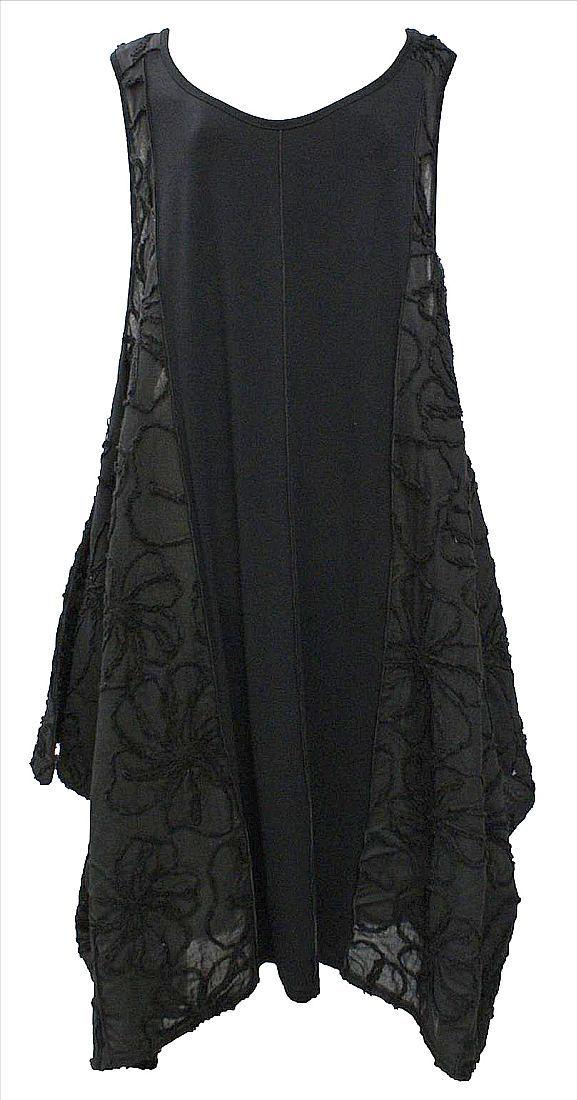 AKH Fashion Lagenlook elegantes Kleid Tunika mit Stickerei in ...