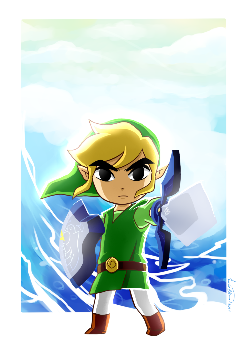 The Legend of Zelda: The Wind Waker, Toon Link / Awakening the Winds by Elena114 on deviantART