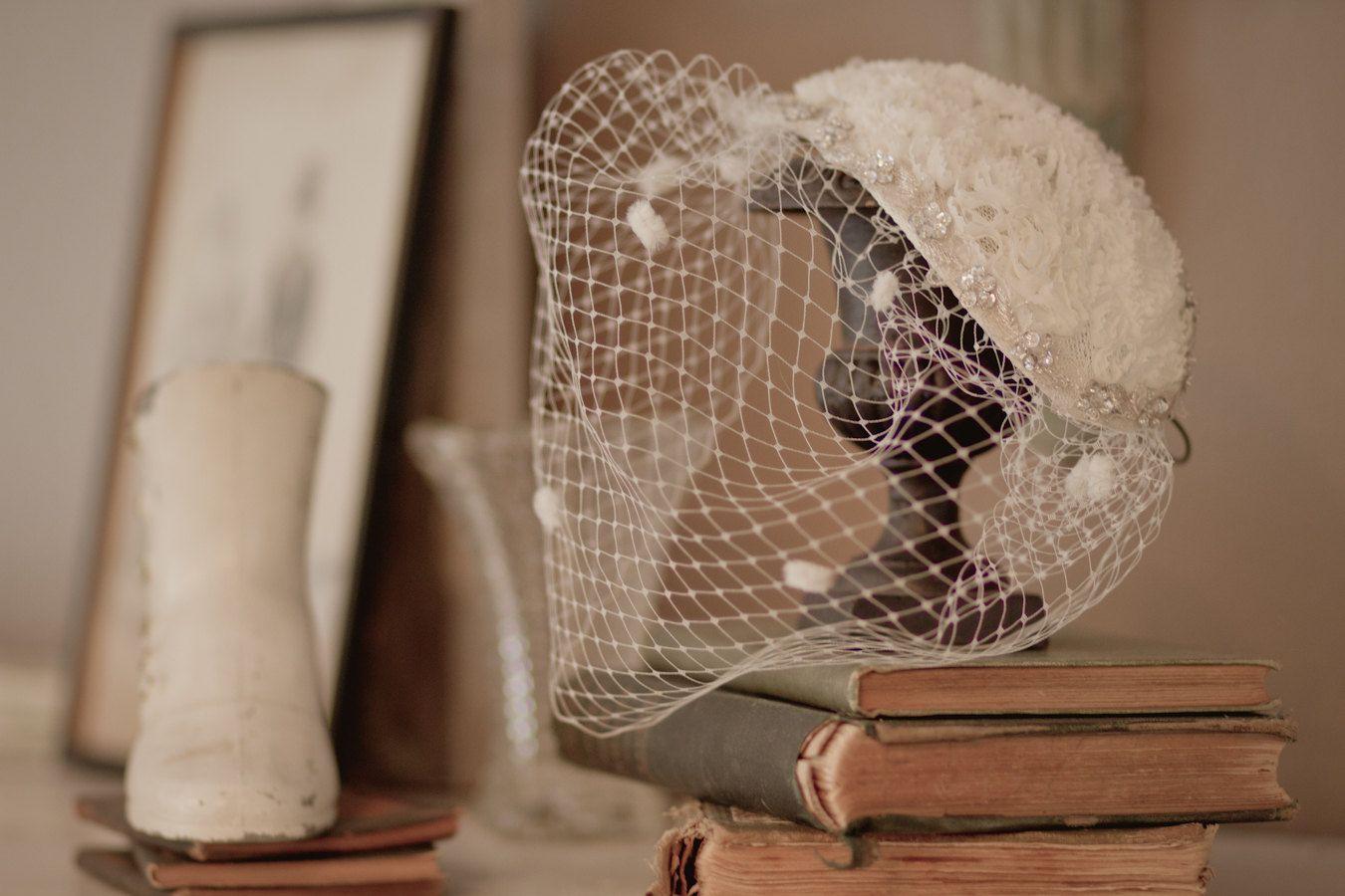 1950's inspired birdcage veil headpiece - bridal mini hat fascinator -style 102 #fascinatorstyles