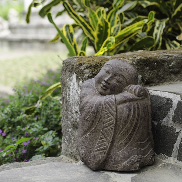 Perfect Volcanic Stone Resting Jizo Statuette, Handmade In Indonesia