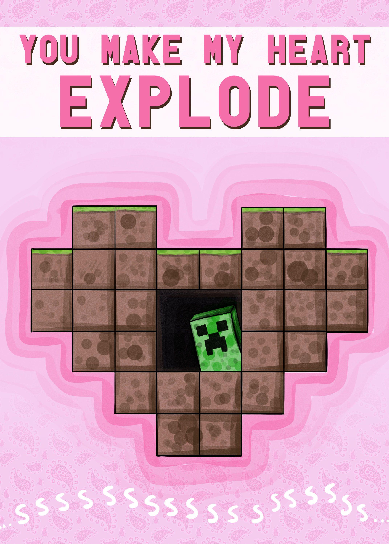 Minecraft Valentines Day Cartas Para San Valentin Regalos De Minecraft Tarjetas A Mano De Amor