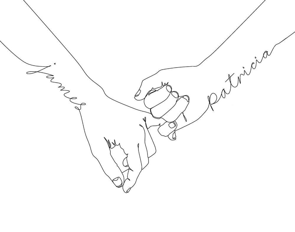 Custom Pinky Promise Print Holding Hands Line Art Etsy In 2021 Name Drawings Matching Best Friend Tattoos Line Art Drawings