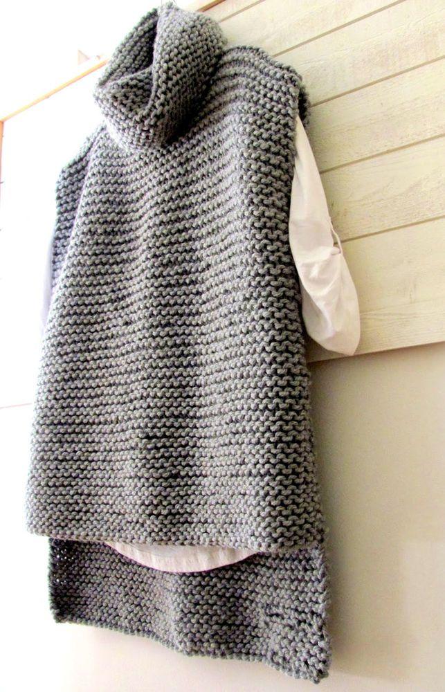 Chunky knit poncho sweater cowl neck long hand knit cover up knit wrap, black & white stripes, boho clothing, women large XL plus, men L XL