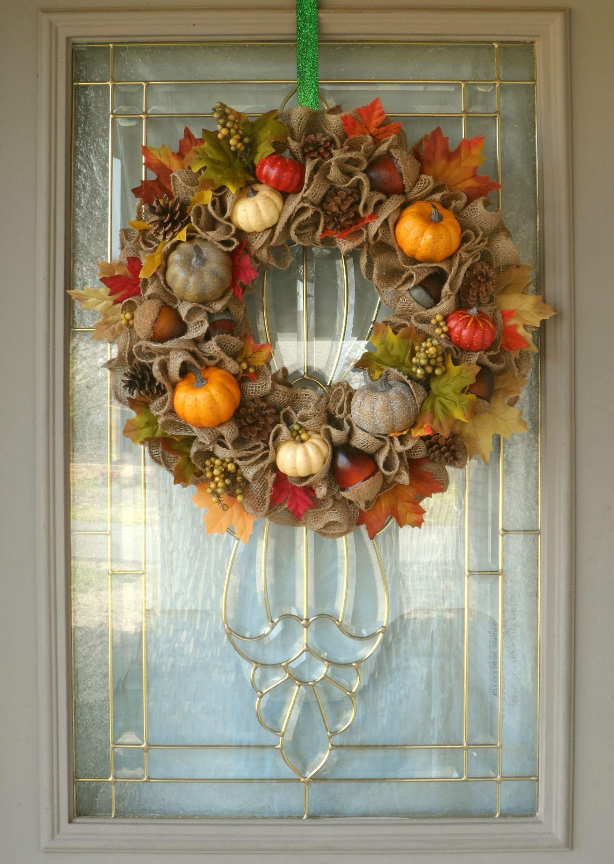 Photo of Farmhouse decor wreath for front door, rustic burlap wreath, pumpkin wreath, fall foliage wreath, country style home decor, fall wreath
