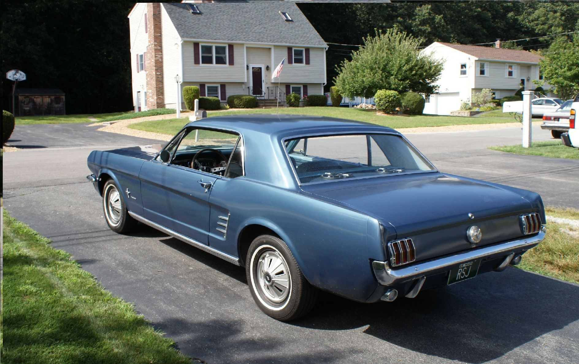1966 ford mustang coupe blue
