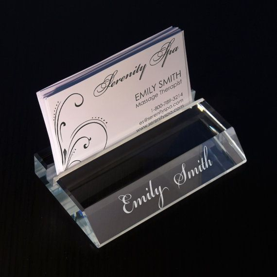 design personalized glass business card holder with choice of any