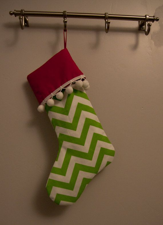 Lime green Chevron Christmas sock by laceandpoppies on Etsy, $18.99