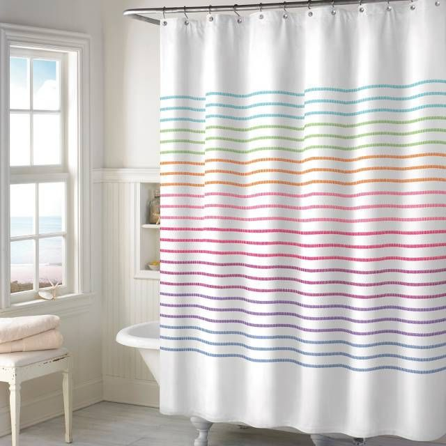 Product Image For Color Stitch Shower Curtain Kids Shower Curtain Rainbow Shower Curtain Printed Shower Curtain