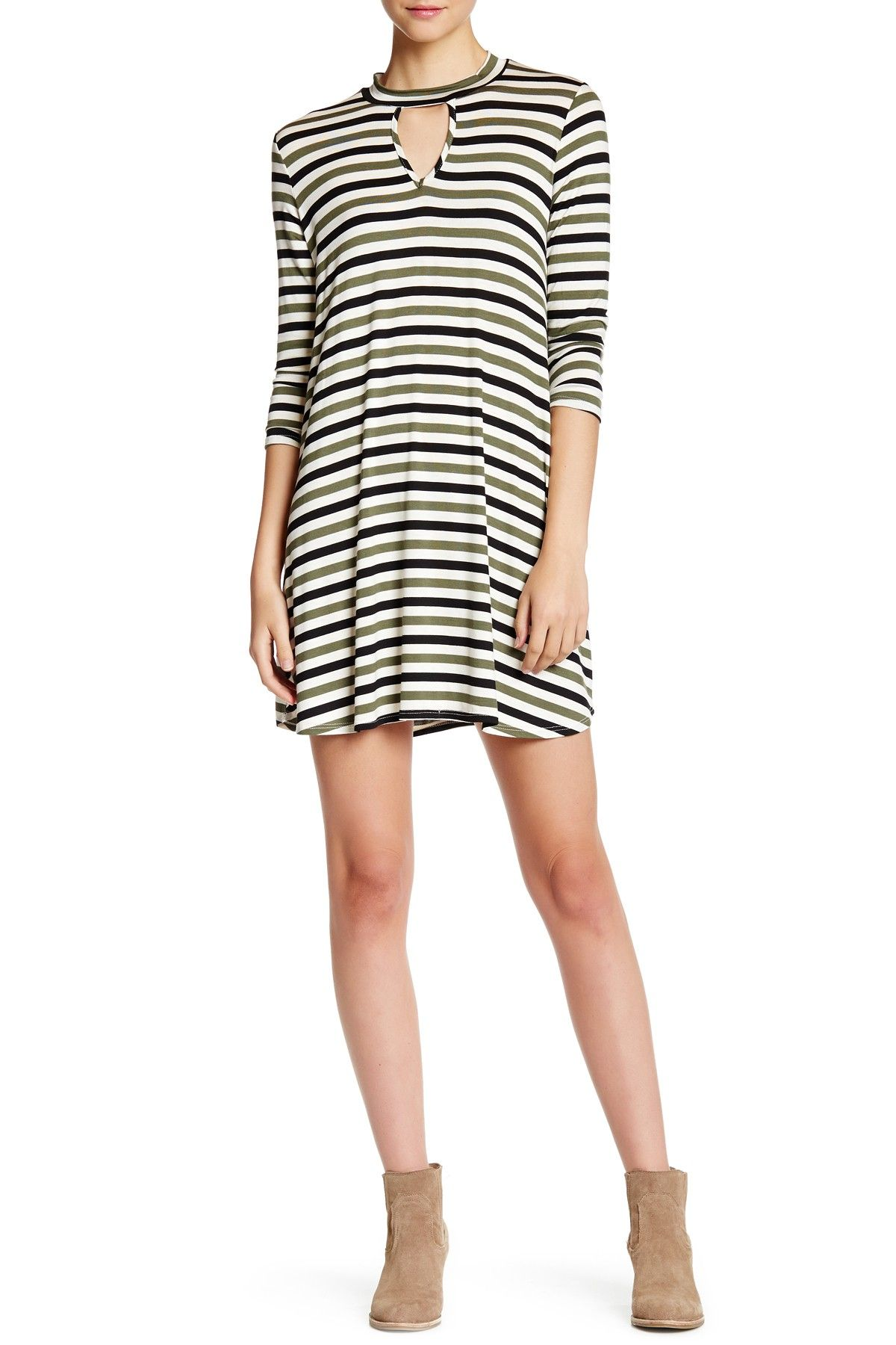 Striped Keyhole Detail Long Sleeve Dress