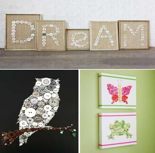 33 ideas para crear y decorar cuadros con botones craft - Cuadros con botones ...