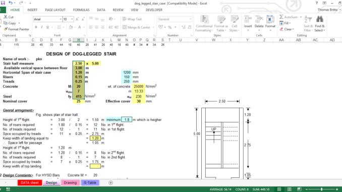 Excel Sheet of a RCC Dog-legged Staircase Design