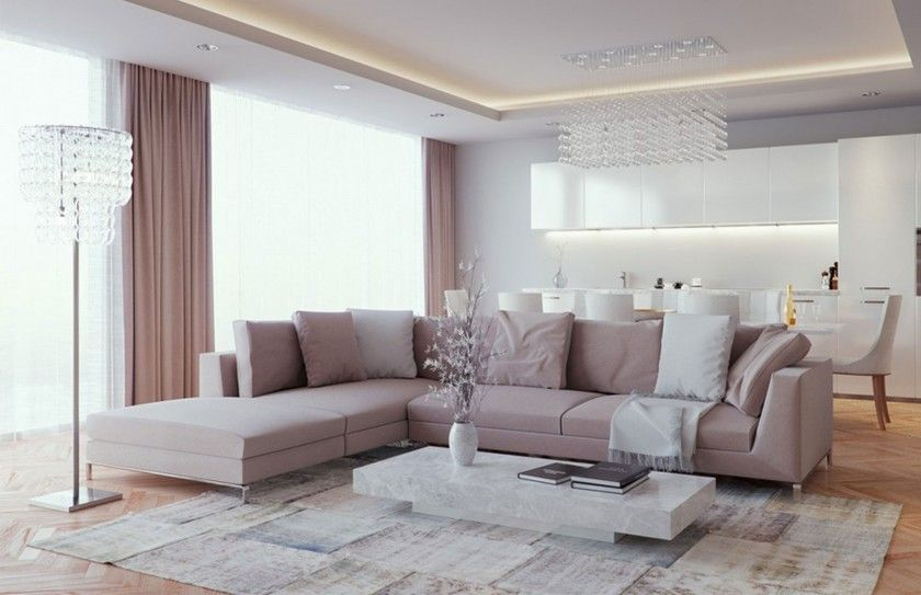 Awesome Living Room Ideas With White Sectiona L Shaped Sofa Soft ...