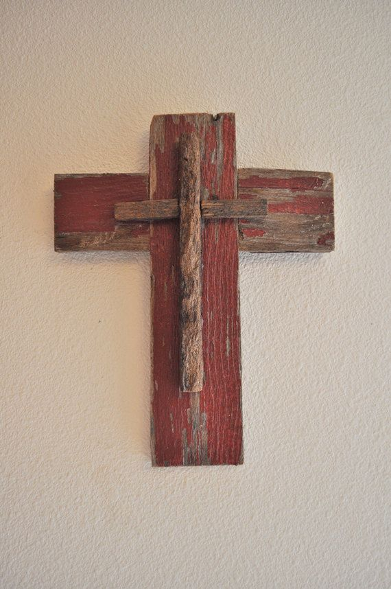 Rustic Unique Brick Red, -One of a kind reclaimed wood cross ...