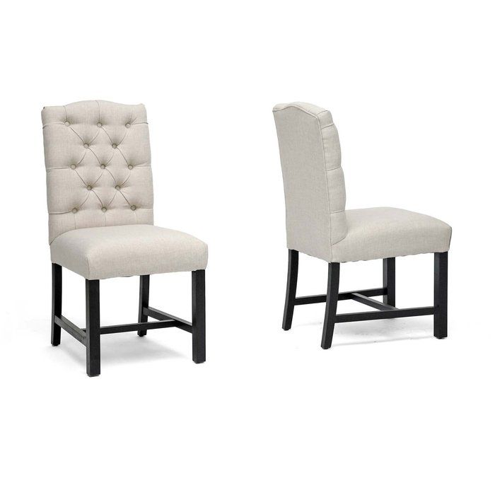 Baxton Studio Armless Linen Dining Chairs with Nail-Head Trim - Set ...