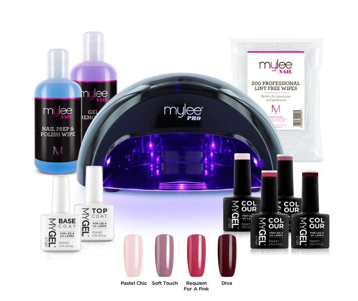 Mylee Complete Professional Gel Nail Polish Led Lamp Kit 4x Mygel Colours Top Base Coat Mylee Pro Salon Series Conve Gel Remover Gel Nail Polish Gel Nails