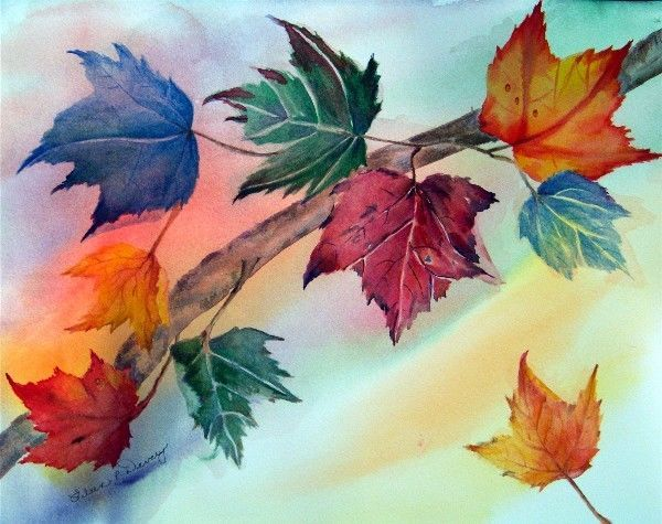 Autumn Original Watercolor Cool Leaves Fall Season Poured Painting