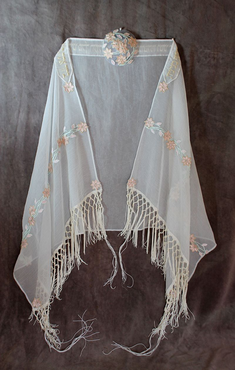 Handmade Bat Mitzvah Embroidered Shawl (Tallis) & Matching ...
