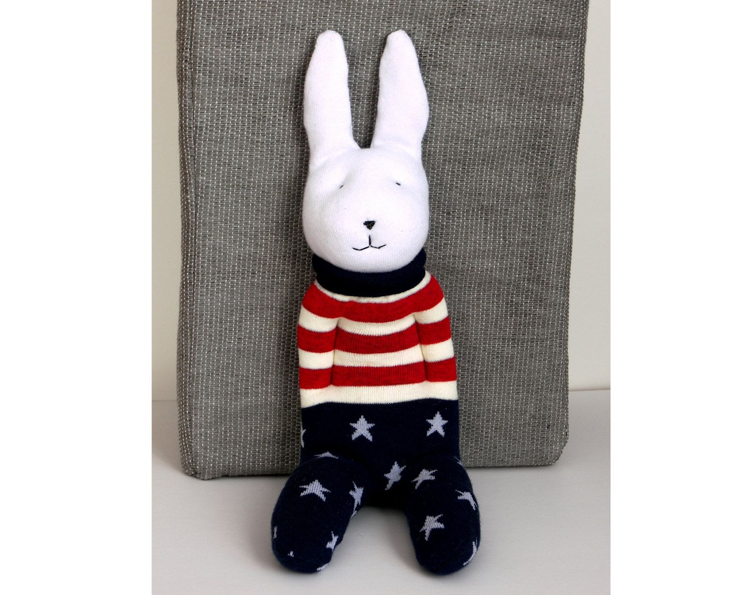 Soft sock bunny in cloth with old glory pattern easter bunny soft sock bunny in cloth with old glory pattern easter bunny waldorf inspired rabbit negle Image collections
