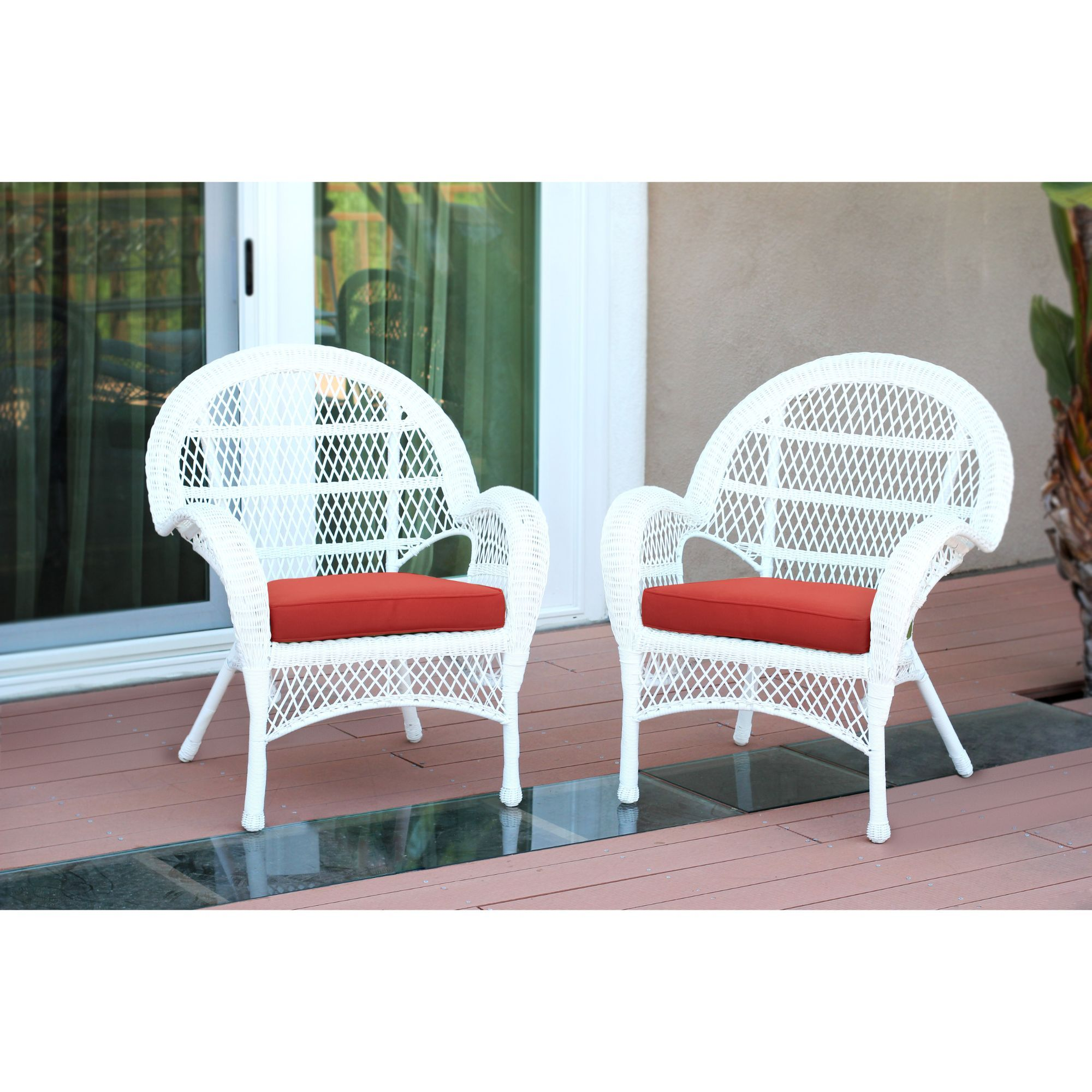Set Of 4 White Wicker Outdoor Furniture Patio Chairs Red Cushions Wicker Patio Chairs White Outdoor Furniture Wicker Dining Chairs