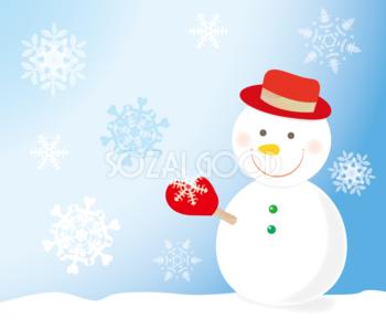 無料イラスト 冬の背景素材 かわいい雪だるま35500 素材 背景 素材