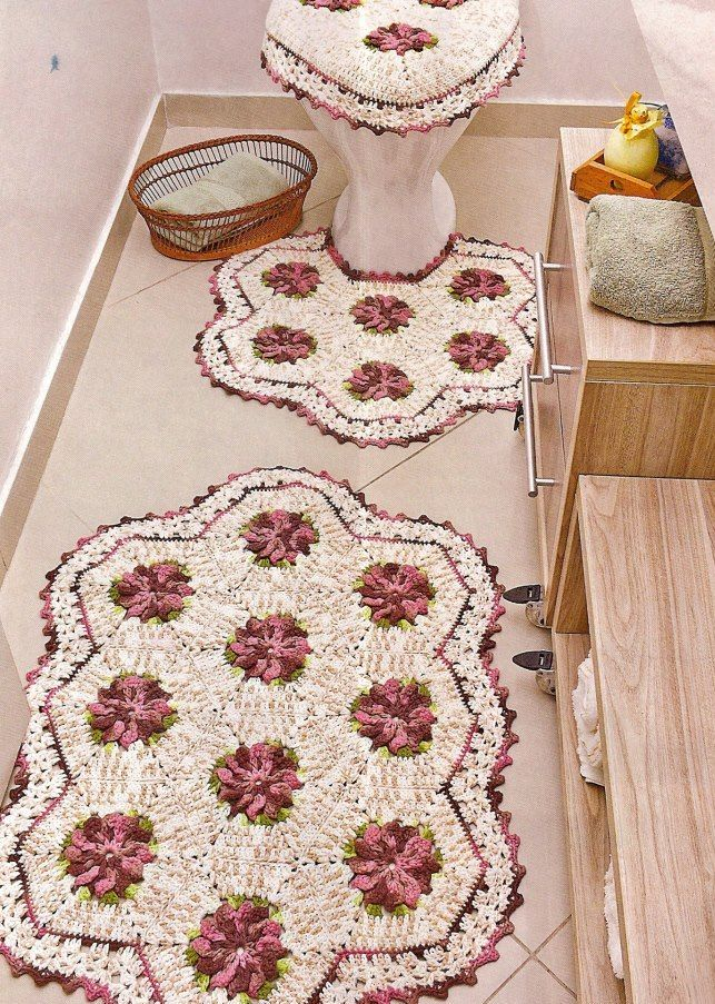 juego de baño  Romantic crochet details  Pinterest  Crochet