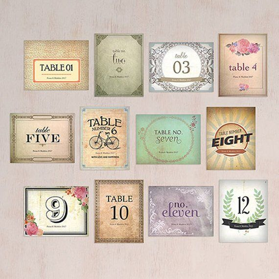 personalized vintage medley table numbers set of 12