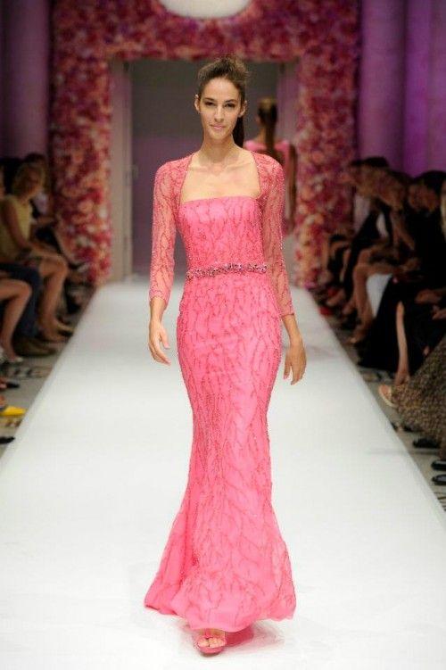 Vestido de fiesta largo en color rosa intenso con bolero de encaje ...