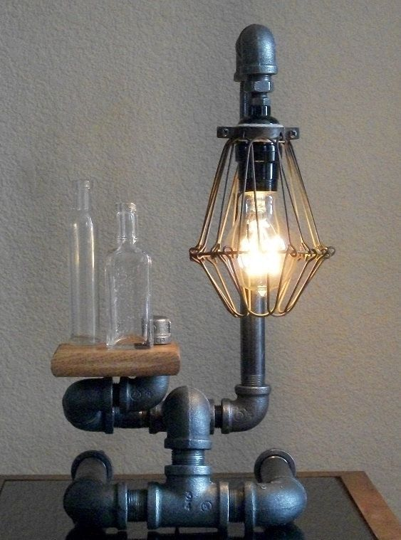 Industrial art desk table black iron lamp with by for Painting black iron pipe